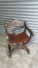 Vintage Antique Carved  Oak Throne  Chair