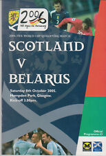 Programma / Programme Scotland v Belarus 8-10-2005 FIFA World Cup 2006 Qualifier