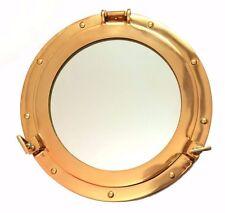 "12"" Antique Maritime Brass Porthole Window Glass Nautical Boat Mirror Wall Decor"