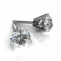2.00 Ct Round Cut Solitaire Diamond Earrings VVS1 14K White Gold 3 Prong Studs