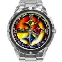 NFL Men Watch Pittsburgh Steelers Stainless Steel Band