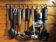 Metal Utensil Tool kitchen Rack Wall  Hooks Holder Rake head measuring cups mugs