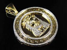 "10K Yellow Gold Genuine Diamond Greek Bezel Jesus Piece Medallion 1.75"" (1.0Ct)"