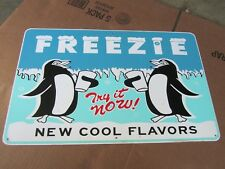 "Vintage Freezie Soda Pop Sign Metal Gas Station Old Rare 22"" x 14"""