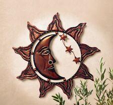 """Sun Moon Stars Celestial Face"" Metal Wall Decor"