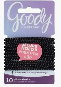 Goody SlideProof Hair Tie Elastics, 4mm, Black, 10-count