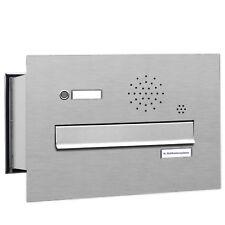 1er Premium V2A Mauer Durchwurf Briefkasten mit Klingel 1Fach Postkasten A4