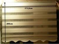 Doppelrollo, Zebrarollo, neu, beige, mit Volant + Silberfäden, edel, 175cm breit