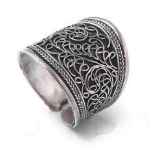 Vintage tribal Nepal silver unisex band thumb adjustable ring