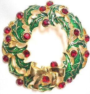 🔥 Eisenberg Ice Signed Rhinestones Vintage New Christmas Tree Wreath Brooch