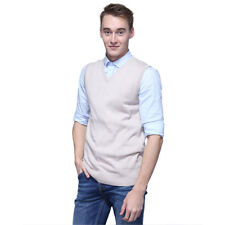 Men's Sweater Knitted Vest Warm V-Neck Sleeveless Pullover Tops Shirt M-2XL