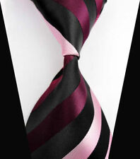 V142 Mens Classic Stripe Black Pink JACQUARD WOVEN Tie 100% Silk Ties Necktie