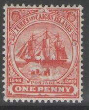 TURKS & CAICOS ISLANDS SG111 1905 1d RED MTD MINT