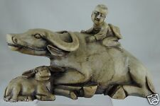 ANTIQUE ASIAN CHINESE FOLK CARVED SOAPSTONE WATER BUFFALO & BOY RIDER FIGURINE