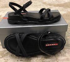 $650 New Prada Ladies Black Sandals Womens Flats Shoes Size 6 US 36 EU