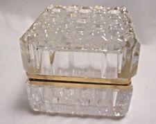 Hinged Crystal Ormolu Trinket Jewelry Box Cane Pattern Heavy Glass