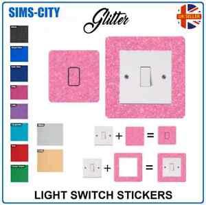GLITTER FACE AND SURROUND LIGHT SWITCH PLUG SOCKET STICKER VINYL GLI001 - PK