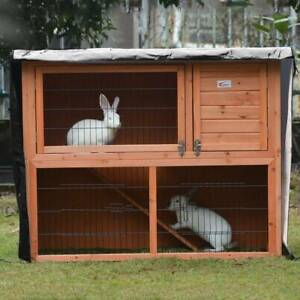 Bunny Rabbit Ferret Chicken Coop Pet Hutch Cage House Enclosure with Cover Roof