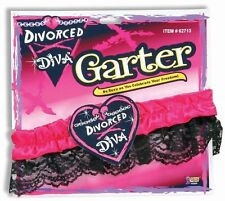 Divorced Diva Pink Black Ladies Night Divorce Party Favor Lace Arm Leg Garter