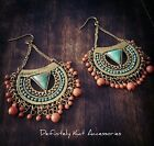 Bohemian tribal patterned gold, blue turquoise & orange statement hook earrings