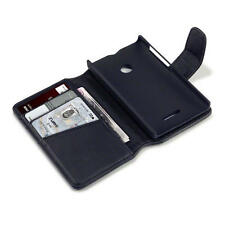 Genuine Leather Wallet Case for Microsoft Lumia 435 - Black