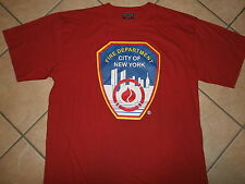 FDNY FIRE DEPARTMENT T SHIRT New York City TWIN TOWERS Logo Badge Patch Red XXL