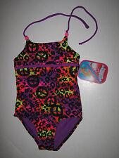 NWT Breaking Waves Girl's -5- Purple Pink Leopard Print 1 Pc Halter Swimsuit