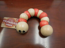 BeginAgain Wooden Earthworm Toddler Grab and Twist Toddler Toy -Red Nwt