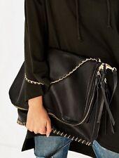 Zara Black Maxi Crossbody Bag New Stitching BNWT Large Handbag Chain Strap