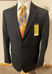 NEW Stafford Mens Sz 36S Black Wool Super 100's Sport Coat Blazer Jacket $260
