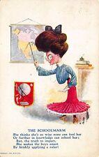 "The Schoolmarm ""She thinks she's so wise"" Poem Postcard"
