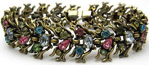 "Vintage 7"" COP. 1950 HOLLY CRAFT Bracelet Colorful Rhinestones Safety Gold Tone"