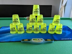 Speed Stacks Official WSSA 12 x Green Cups in Bag Plus Stack Mat & Timer