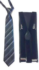 "Children's Place Gray/Black Striped 4-7Y Neck Tie & Black 36"" Adj Suspenders"