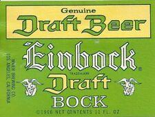 Einbock Draft, Maier Brewing, Los Angeles, California Vintage Paper Beer Label