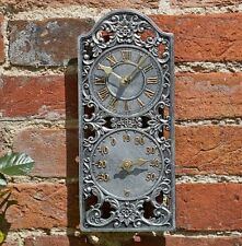 Capesthorne Westminster Dual Wall Clock and Thermometer Garden Outdoor Indoor