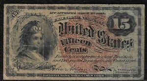 """1869 """"Fourth Issue"""" .15 Cent Fractional Note """"Fine"""" *Free S/H After 1st Item*"""
