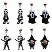 1 Pair Halloween Ghost Skull Skeleton Dangle Drop Earrings Hook Gothic Jewelry