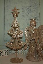 Engel Glitzer Glitzerengel Metall 25 cm shabby gold Christbaumspitze Weihnachten