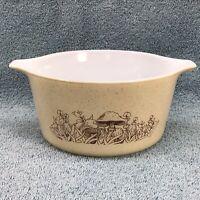 Pyrex Casserole Baking Dish 1Qt Mushroom Forest Fancies 473-B 473 No Lid Vintage