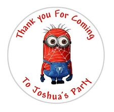 24 Personalised Minion Spiderman Round Labels Birthday Stickers Party Bag - DE2