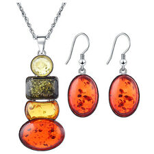 Charm Women's Silver Plated Amber Party Jewelry Sets Long Necklace Earrings A0K6