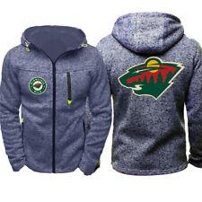 New Minnesota Wild Fans Hoodie Full-zip Hooded Sweatshirt Autumn Jacket Coat Top