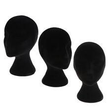 3pcs Black Styrofoam Mannequin Manikin Head Model Wigs Glasses Display Stands