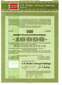 U.S. Rubber Uniroyal Holdings -Teilschuld 10.000 DM - Luxemburg 1978  Reifen