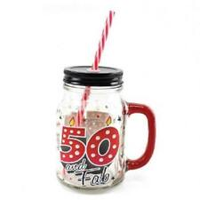 Cocktail Drinking Mason Jar With Lid and Straw 500ml - 50th Birthday LP26121