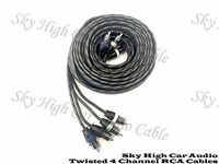 Sky High Car Audio 4 Channel Twisted 12 ft RCA Cables Coated 12' OFC Four