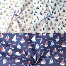 Polycotton Fabric Sailor Rob's Sailing Boat Race Sea Ocean Waves