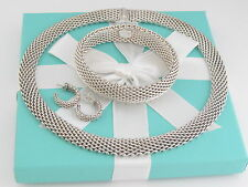 Tiffany & Co Silver Somerset Necklace Bracelet Earrings Set Box Included
