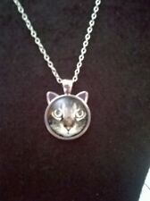 Tabby cat ear pendant necklace / glass dome on silver alloy setting / 25mm